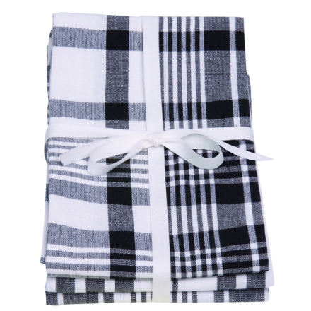 Dexam Love Colour Set Of 3 Extra Large Tea Towels - True Black