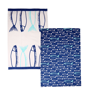 Fish Set of 2 Teatowels Marine Blue
