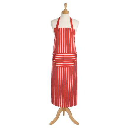 Rushbrookes Classic Butchers Stripe Long Apron - Red